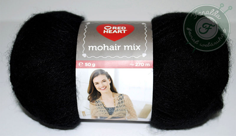 Red Heart Mohair Mix - 0217 - Fekete